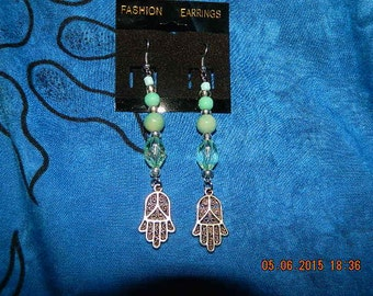 turquoise and silver namaste earrings