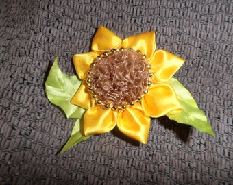 Sunflower hairpin or breastpin