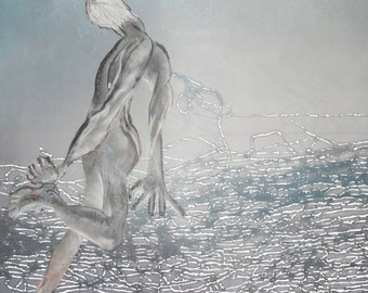 Floating Man in a Wire Landscape - Limited edition digital print in mount, on archive quality paper, with free UK shipping
