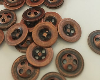 10, metal buttons, copper buttons, antique copper metal buttons, 13mm round buttons, vintage buttons, metallic buttons, shirt buttons