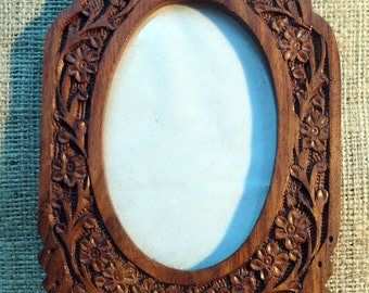 Hand Carved Wood Picture Photo Frame