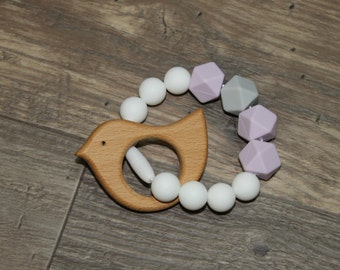 Silicone and Wood Teething Toy | Bird | Modern | Perfect Gift | Handmade in Canada | Unique | Teething | Baby | Kenton Creations