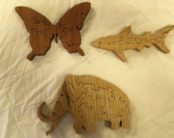 3 Handmade wooden puzzles