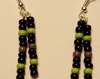 Seattle Seahawk Glass Bead Earrings