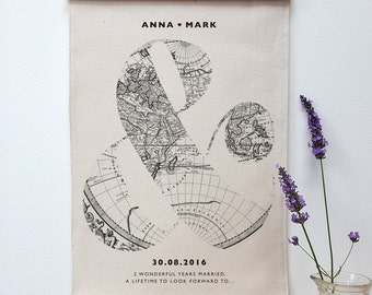 Personalised Antique Map Cotton Anniversary Print