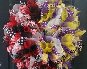 UGA Wreath - LSU Wreath - Uga Lsu House Divided Wreath - Deco Mesh Wreath