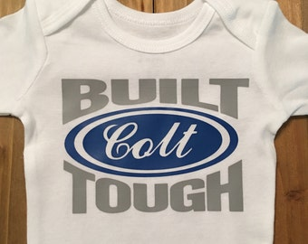 Built Tough Long Sleeve Onesie. Personalized. 0-3 months.
