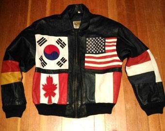 Vintage Phase 2 - Flags of the World - Leather Bomber Jacket