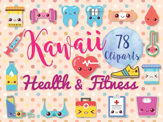 78 Cute Fitness Clipart: KAWAII HEALTH Medical