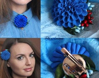 blue brooch, blue boutonniere, groomsman boutonniere, blue headband, bride jewelry, bridesmaids gift, gift for her, blue hairclip, blue