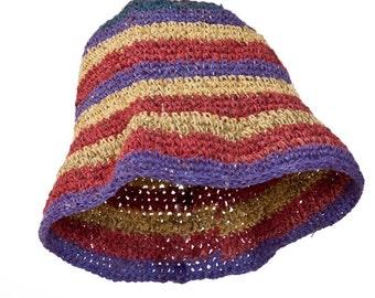 Crocheted Cloche hat made of hemp