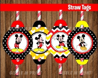Mickey Mouse Straw Tags, Printable Mickey Mouse Straw toppers, Mickey party Straw Tags instant download