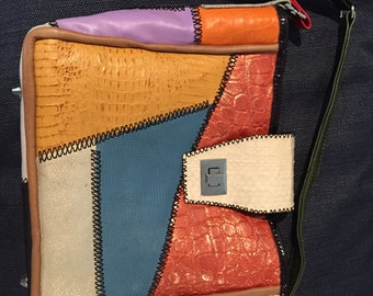 Handmade Leather Patchwork Purse