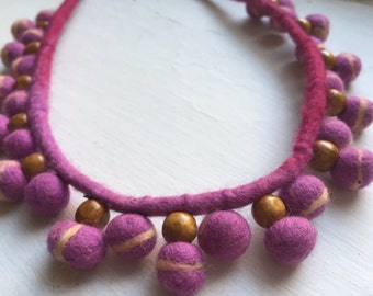 Pink felted beaded necklace