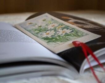 Original watercolor | Bookmark | White Daisies