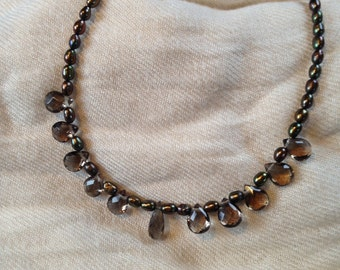 Steampunk - 'Oceanic' Cultured Pearl and Smokey Quartz Necklace