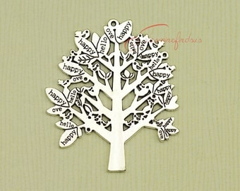 3PCS--58x51mm Tree Charms,Antique Tibetan Silver Tone Extra Large and Beautiful Detail Filigree Lush Peace Tree Charm Pendant.
