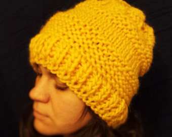 Chunky Knit, Slouchy Hat Beanie, Extra Warm,  Handmade Hat, yellow hat, Hat woman, Winter hat, Wool hat,  Knitted Wool Hat
