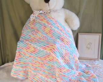 Crochet Baby Blanket in Tutti-Frutti Colors with Hearts
