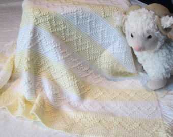 Hearts Galore Crochet Baby Blanket in Soft Yellow and White
