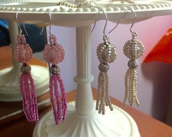 Pearl and Glass Beaded Chandelier Earrings
