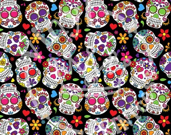 Sugar Skulls Patterned Outdoor Craft Vinyl - Sugar Skulls Printed Vinyl Sheets - 651 - 12x12 or 12x24 Vinyl Sheets - 651 or HTV