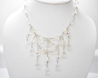 """Sterling Necklace, Vintage Necklace, Chandelier Necklace, Silver Necklace,  Vintage Sterling Silver Crystal Chandelier Necklace 15.5""""  #1803"""