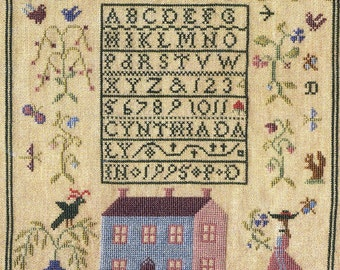 Lady and the Flower by Little by Little Counted Cross Stitch Pattern/Chart