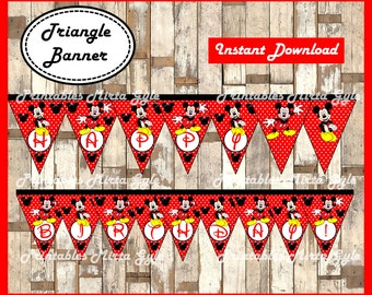 Mickey Mouse Banner, printable Mickey party Banner, Mickey Mouse triangle Banner