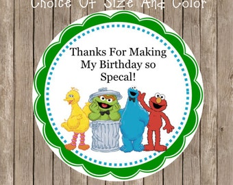 Sesame Street Personalized Stickers-Personalized Birthday Stickers-Kid's Sesame Street Birthday Party-Party Favor Tag-Color Choice(41)