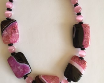 Black & Fuchsia Fire Agate Necklace