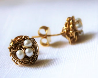 Gold field  nest  earrings with pearls.