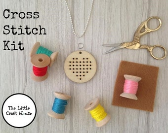 Cross Stitch Kit // Heart Pendant // Make Your Own // DIY // Gift // Craft Kit
