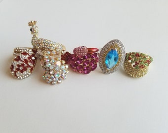 Fabulous 1960's/1970's Rhinestone Cocktail Statement Rings! - Peacock, Holiday Holly Leaves, Pink Swan, Stamped Yellow Citrine, Red Flower