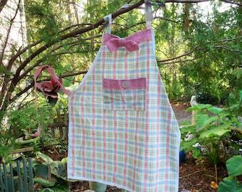 apron Pink & Blue plaid cotton w/ pink burlap trim