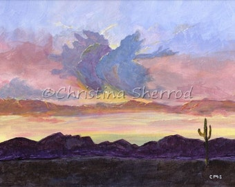 Blank Greeting Card - Arizona Sunset - From Original Acrylic Painting - 5x7 - Horizontal