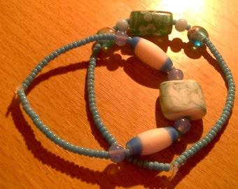 set of two bff beaded beach friendship bracelets