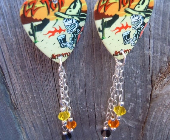 zz top mescalero guitar pick earrings with crystals