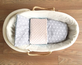 MINKY BLANKET baby 75 x 50 + cushion STAR * 2 set * bassinet, stroller