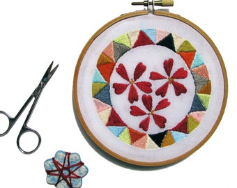 Geometric Floral Embroidery pdf Pattern Contemporary Embroidery Pattern diy