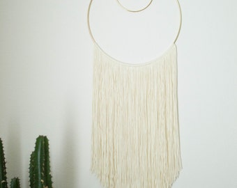 Cream Cotton Fiber Wall Hanging Double Gold Hoop Weave Yarn Wall Hanging