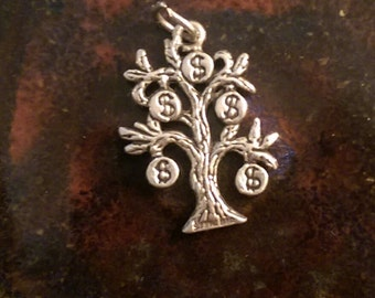 Vintage sterling money tree dollar sign charm pendant or keychain charm