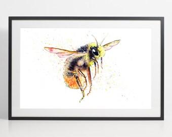 Watercolor Bumblebee Painting Print - Bumblebee art, animal watercolor, animal illustration, Bumblebee illustration, Bumblebee poster