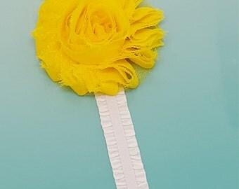Custom Yellow summer Fabric flower PLANNER BAND: Happy Planner Band, Planner accessories,Large Planners, Journal Band, Erin Condren, KikkiK