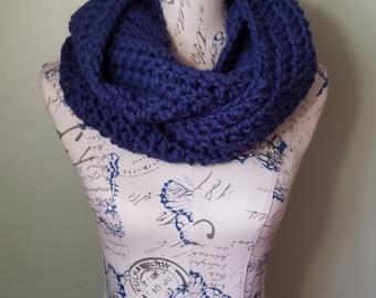SALE crochet infinity scarf - crochet infinity scarf chunky-blue infinity scarf-grey infinity scarf-cowl scarf - ready to ship