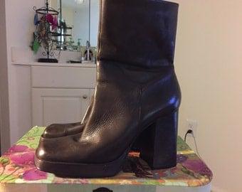 Vintage brown leather platform boots