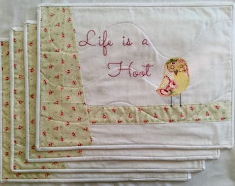 Life is a Hoot Quilted Placemats