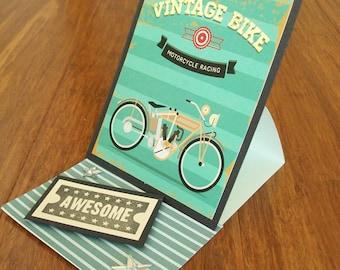 Vintage Motorbike Single Easel Card Green WG4