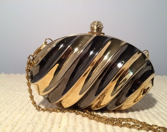 Two Toned Metal Clamshell Clutch-Alpha and Omega-Evening Bag with Crystal Closure and Chain Strap