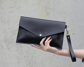 Leather black clutch - MInimal handbag